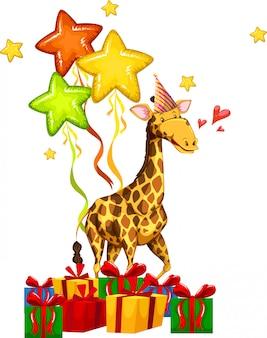 Concetto di giraffa felice festa