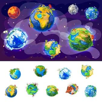 Concetto di globi di terra del fumetto