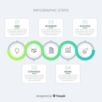 Concetto di gradiente infografica passi
