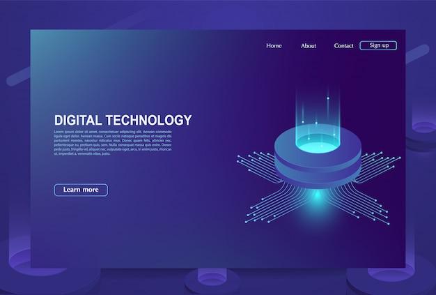 Concetto di grande centro di elaborazione dati, database cloud, stazione energetica del server del futuro. tecnologie dell'informazione digitale.