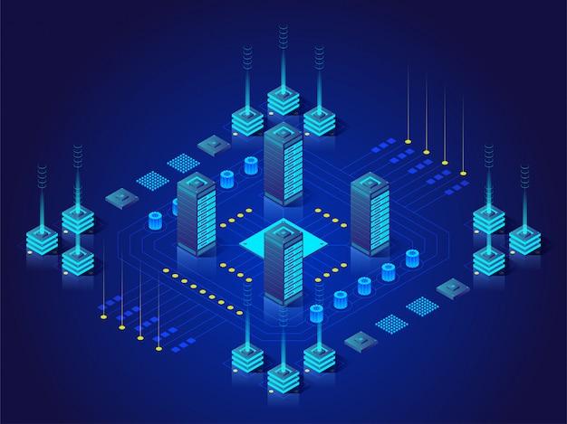 Concetto di grande elaborazione dei dati, stazione di energia di futuro, scaffale della stanza del server, illustrazione isometrica del centro dati