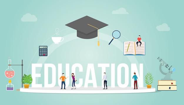 Concetto di grande parola di educazione con studenti della gente e alcuni strumenti relativi agli elementi