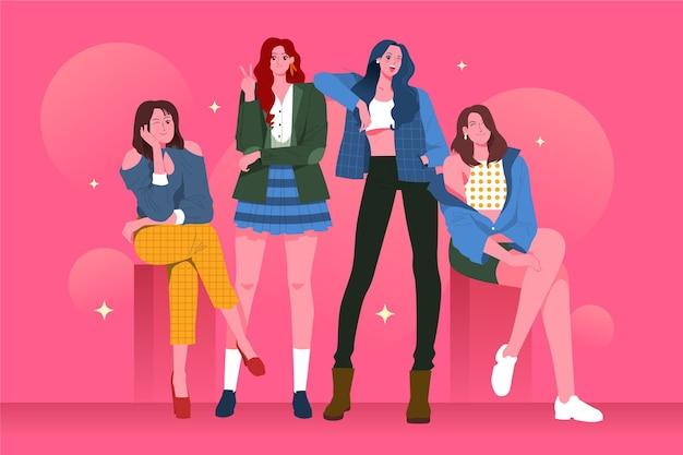 Concetto di gruppo ragazza k-pop