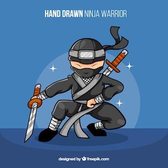 Concetto di guerriero ninja disegnato a mano