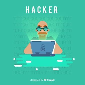 Concetto di hacker anonimo con design piatto