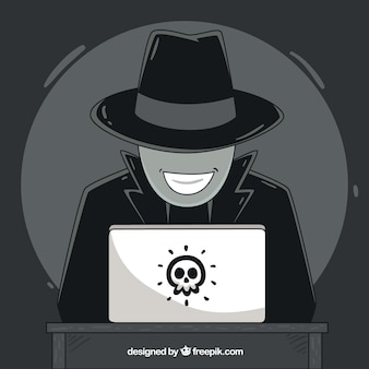 Concetto di hacker anonimo disegnato a mano