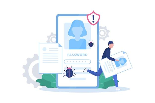 Concetto di hacker. ladro attacca il telefono cellulare, ruba dati personali
