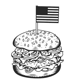Concetto di hamburger gustoso monocromatico vintage