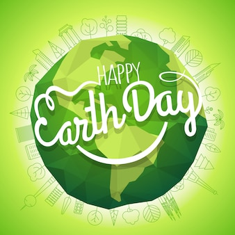 Concetto di happy earth day. logo vettoriale con il sorriso. sorridente illustrazione di terra