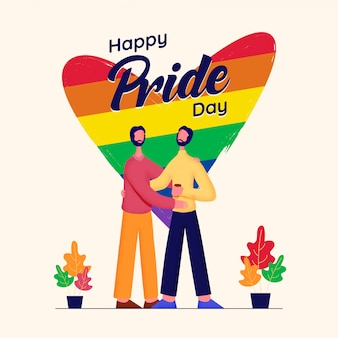 Concetto di happy pride day con coppie gay e cuori di colore arcobaleno.