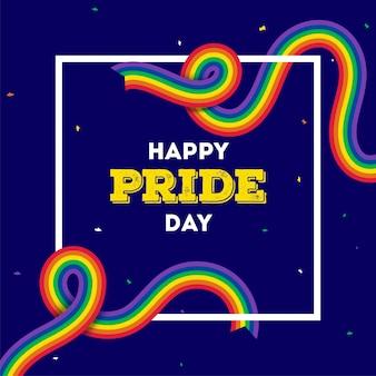 Concetto di happy pride day con nastri di colore arcobaleno su sfondo blu.