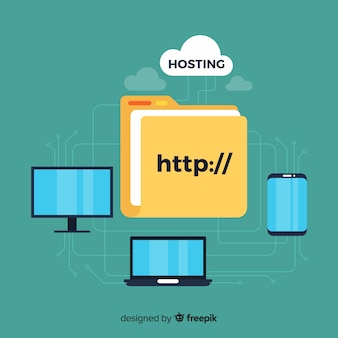Concetto di hosting moderno con design piatto