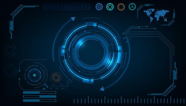 Concetto di hud dell'interfaccia futuristica di tecnologia astratta del cerchio