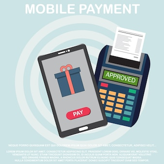 Concetto di icona linea piatta di elaborazione dei pagamenti senza fili.