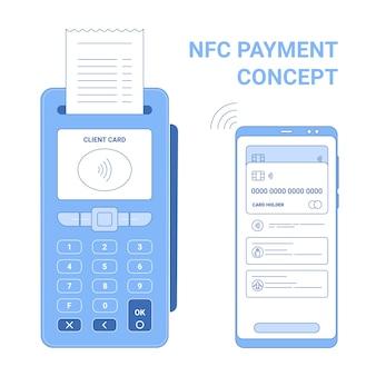 Concetto di icona linea piatta di pagamento senza fili