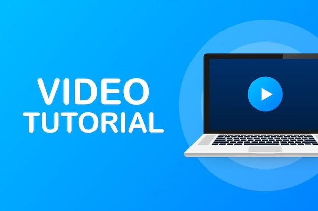 Concetto di icona tutorial video. studio e apprendimento, istruzione a distanza e crescita delle conoscenze. icona di videoconferenza e webinar, servizi internet e video.
