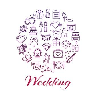 Concetto di icone di linea di nozze luminose intorno