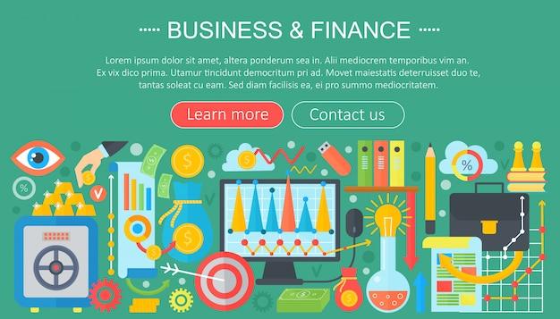 Concetto di icone piane di affari e finanza