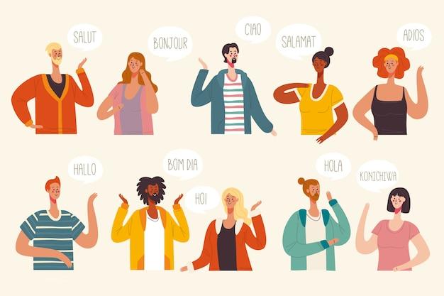 Concetto di illustrazione con conversazioni in più lingue