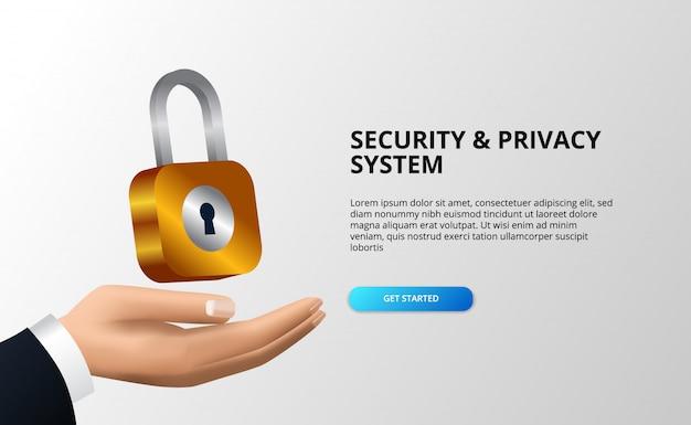 Concetto di illustrazione del sistema di sicurezza e privacy con lucchetto a portata di mano con sfondo bianco.