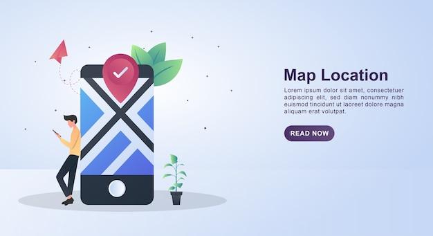 Concetto di illustrazione della posizione sulla mappa con persone che cercano una posizione su uno smartphone.