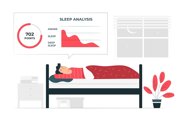Concetto di illustrazione di analisi del sonno