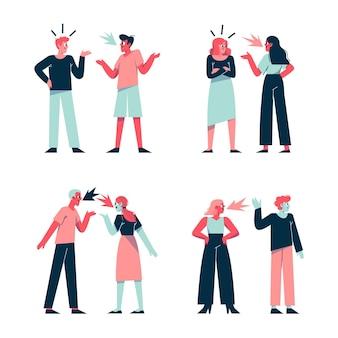 Concetto di illustrazione di conflitti di coppia