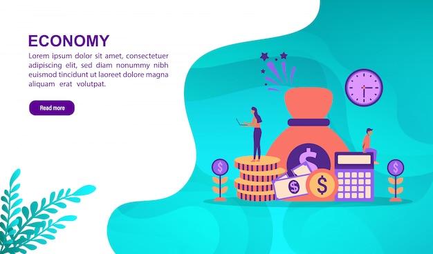 Concetto di illustrazione di economia con carattere. modello di pagina di destinazione