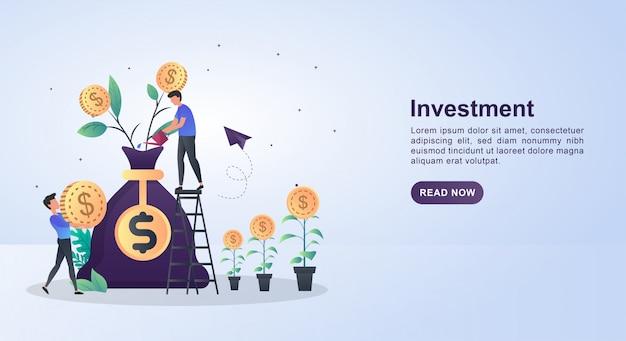 Concetto di illustrazione di investimento con persone che piantano monete.