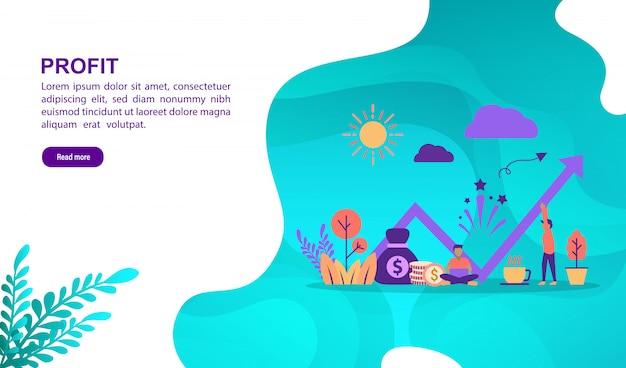 Concetto di illustrazione di profitto con carattere. modello di pagina di destinazione