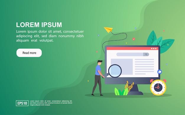 Concetto di illustrazione di seo. modello web della pagina di destinazione o pubblicità online