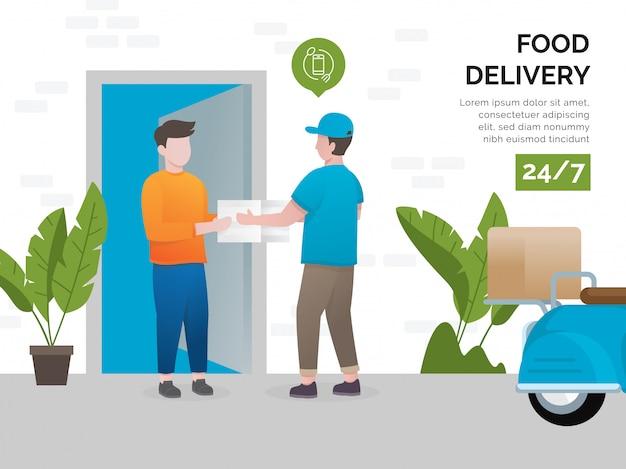 Concetto di illustrazione di servizi di consegna di cibo