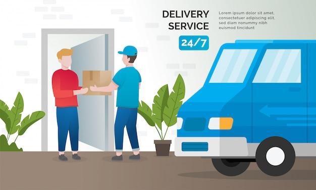 Concetto di illustrazione di servizi di consegna