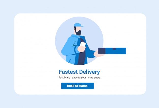 Concetto di illustrazione di servizio di consegna ui online per sito web
