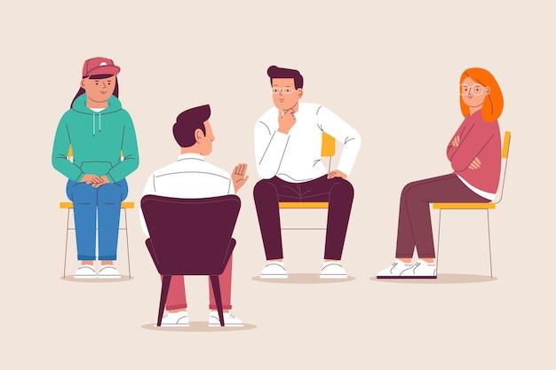 Concetto di illustrazione di terapia di gruppo