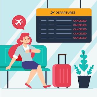 Concetto di illustrazione di volo annullato