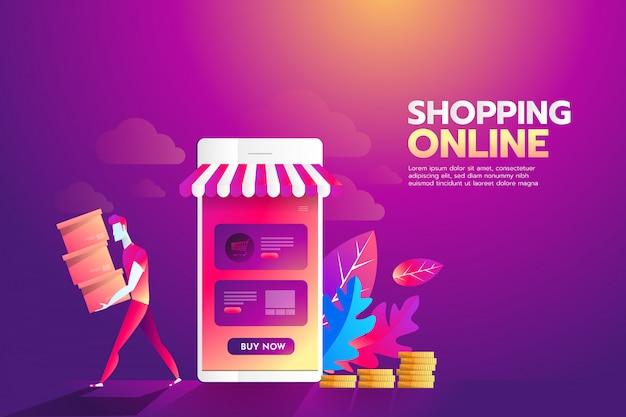 Concetto di illustrazione piatto dello shopping online.