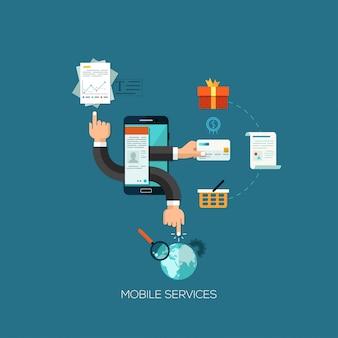 Concetto di illustrazione vettoriale design piatto per servizi mobili