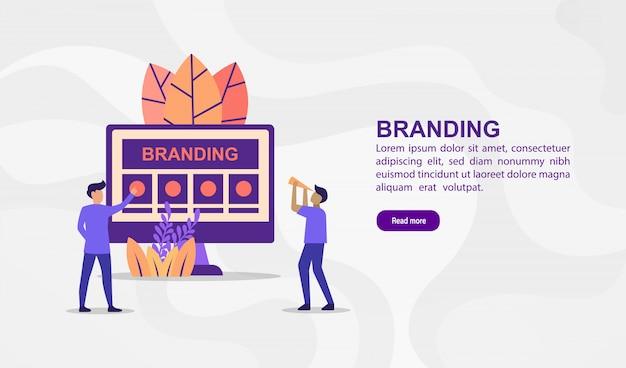 Concetto di illustrazione vettoriale di branding. illustrazione moderna concettuale per modello di banner