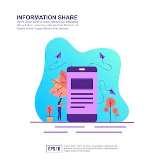Concetto di illustrazione vettoriale di condivisione delle informazioni