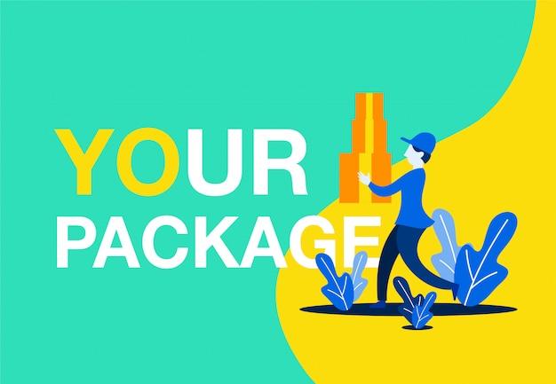 Concetto di illustrazione vettoriale di consegna pacchetto