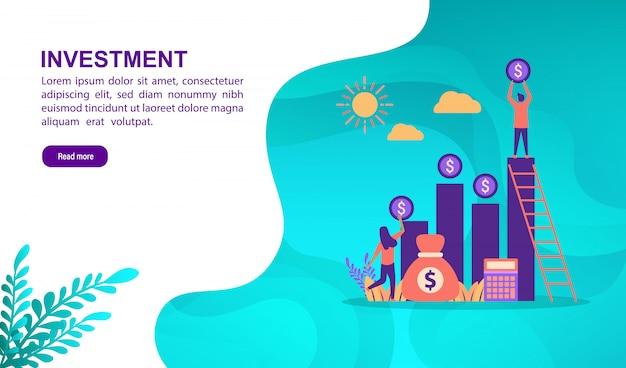 Concetto di illustrazione vettoriale di investimento con carattere. modello di pagina di destinazione