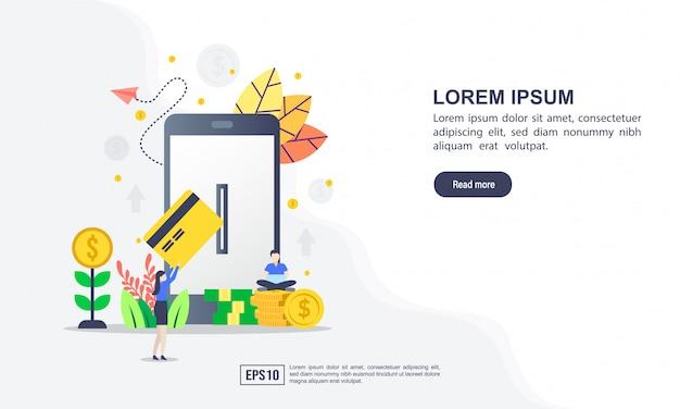Concetto di illustrazione vettoriale di pagamento online con carattere