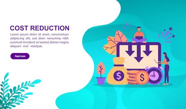 Concetto di illustrazione vettoriale di riduzione dei costi con carattere. modello di pagina di destinazione