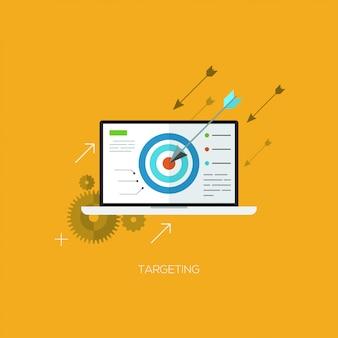 Concetto di illustrazione vettoriale piatto per il targeting