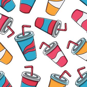 Concetto di imballaggio di bevande soda tazze in seamless con stile doodle