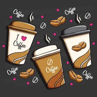 Concetto di imballaggio di tazze di caffè utilizzando la colorazione doodle arte su priorità bassa della lavagna