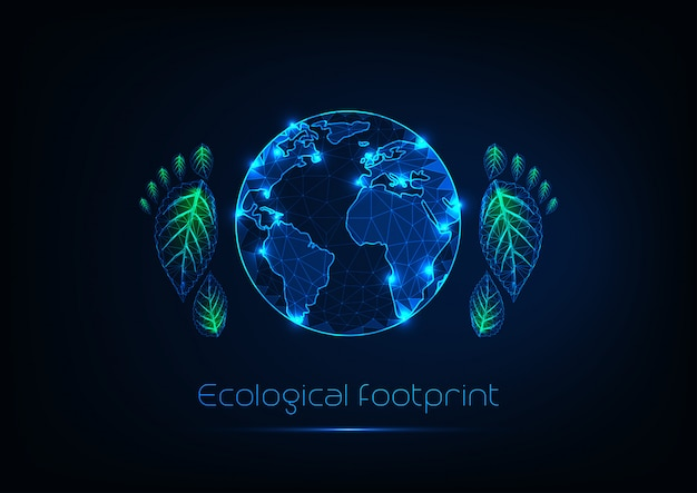 Concetto di impronta ecologica con bagliore futuristico basso pianeta poligonale e stampe del piede umano.