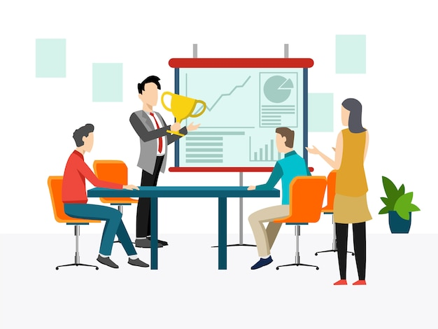 Concetto di incontro di lavoro, lavoro di squadra, formazione, miglioramento delle capacità professionali.