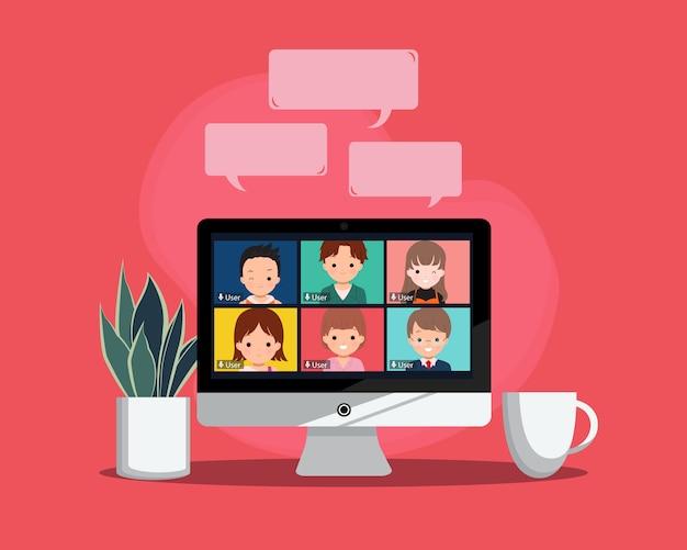 Concetto di incontro virtuale. nuova teleconferenza di stile di vita normale con il collega. spazio di lavoro con pianta e caffè. disegno vettoriale stile piatto.